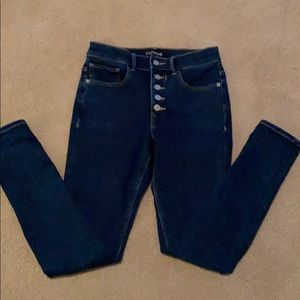 Express High Rise Perfect Denim Button Fly jeans 4